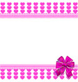cute elegant template with pink lined hearts vector image
