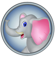 cute head elephant cartoon vector image vector image