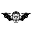 dracula head with bat wings vector image vector image
