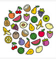 fruits icons in a circular shape vector image vector image