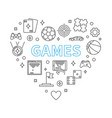 games heart concept in outline vector image vector image