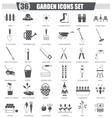 Garden black icon set Dark grey classic vector image vector image