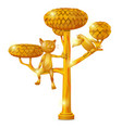 golden statue in form a tree a cat and a vector image vector image