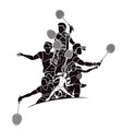 group badminton players action cartoon graphic