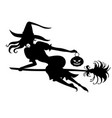 halloween witch silhouette on broom vector image vector image