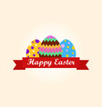 happy easter greeting card with colorful eggs vector image vector image