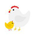 hen and chicken bird icon set mother and baby