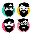 hipster men avatars set man with beard vector image