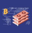 isometric electronic bitcoin vector image