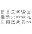 lawyer justice icons set outline style vector image
