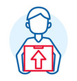 man delivery box icon outline style vector image vector image