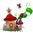 mushroom house with many insects vector image vector image