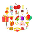 natal day icons set cartoon style vector image vector image