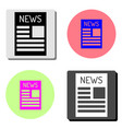 newspaper flat icon vector image vector image