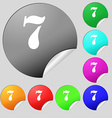 number seven icon sign Set of eight multi colored vector image