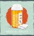 orange bottle with medical drugs vector image