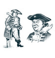 pirate portrait captain man on ship traveling vector image