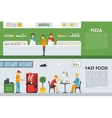 Pizza Menu and Fast Food flat concept web vector image