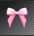 realistic shiny pink satin bow isolated vector image