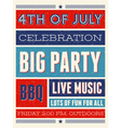 retro style american independence day flyer design vector image vector image