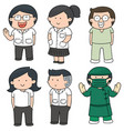 set of medical staff vector image