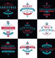 Set of Retro Vintage Typographic Merry Christmas vector image vector image
