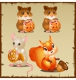 Set of squirrel with hamsters and mouse vector image