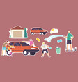 set stickers family wash car characters vector image