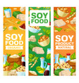 soybean and soy vegan products banners vector image vector image