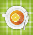 tea with lemon saucer spoon green cloth vector image vector image