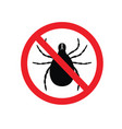 tick parasite warning sign epidemic human mite vector image vector image