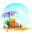 Travel suitcase beach umbrella on sand