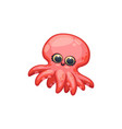 underwater creature - pink cartoon octopus kawaii vector image