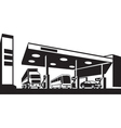 Vehicles at gasoline station vector image