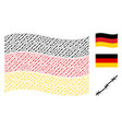waving german flag pattern of barbed wire items vector image