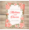 wedding invitation pink roses pink background vect vector image vector image