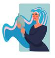 woman looking in mirror smarten up and makeup vector image