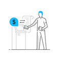 woman withdraws money from an atm family vector image vector image