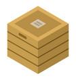 wood box icon isometric style vector image vector image