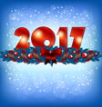 Red New Year 2017 numbers and Xmas decoration vector image