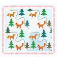 Vintage Christmas card with foxes vector image