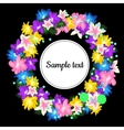 Round frame with wreath from flowers vector image