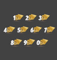 3d number with big gold arrow set vector image vector image