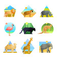 animals polygonal emblem set vector image