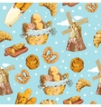 Bakery hand drawn seamless pattern vector image vector image