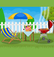 bbq party sun lounger vector image vector image