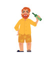 bearded man in shorts and flip-flops drinking bear vector image vector image