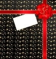 black-red background with bow and empty card vector image vector image