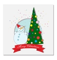 card with Christmas tree and crescent moon vector image vector image