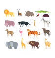 Cartoon african savannah animals wild zoo safari vector image